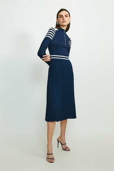 Navy Sporty Stripe Pleat Skirt Knit Dress