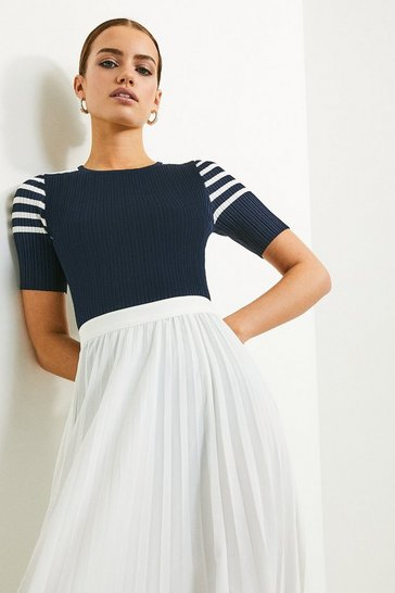 Navy Sporty Striped Knitted Tee