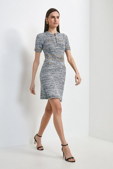 Mono Tweed Pearl Knit Dress