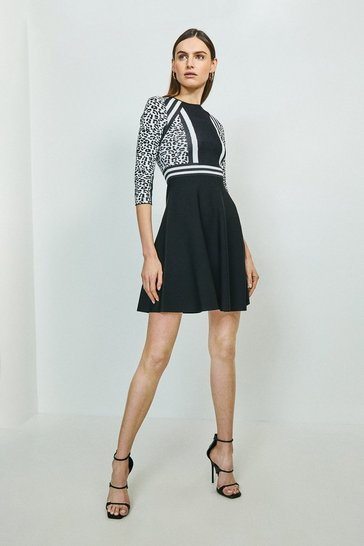 Blackwhite  Leopard Fit And Flare Dress