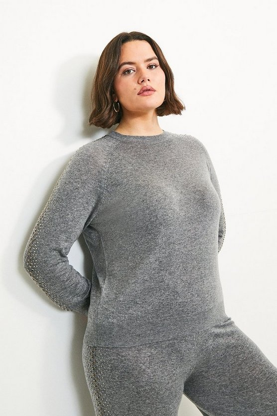 Grey Curve Embellished Soft Touch Knitted Jumper