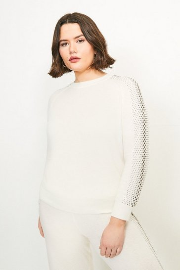 Ivory Curve Embellished Soft Touch Knitted Jumper