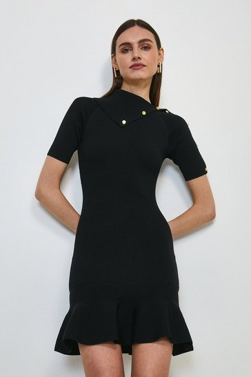 Black Envelope Neck Flippy Dress