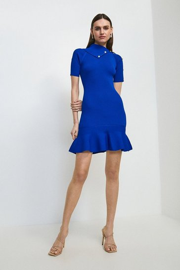 Cobalt Envelope Neck Flippy Dress
