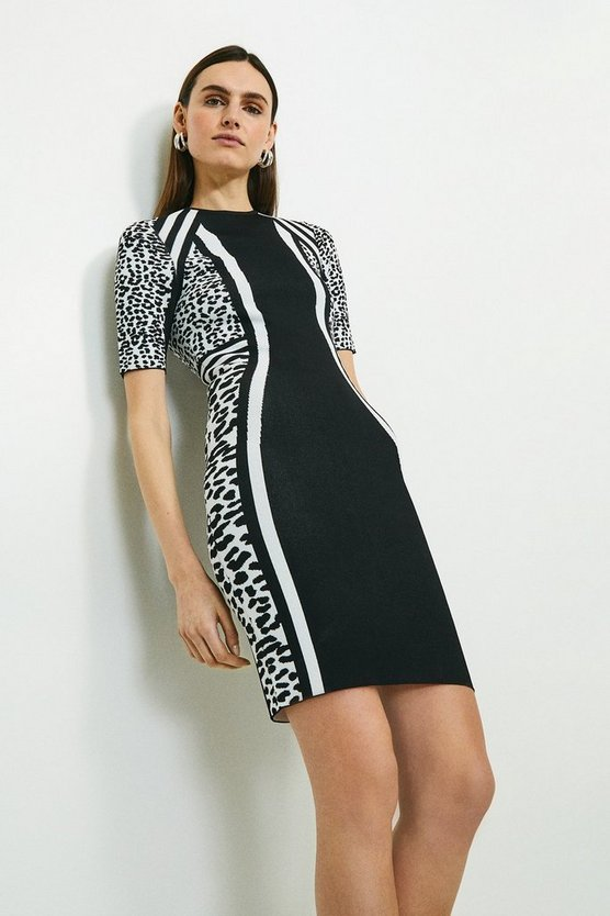 Blackwhite Monochrome Leopard Jacquard Fitted Dress