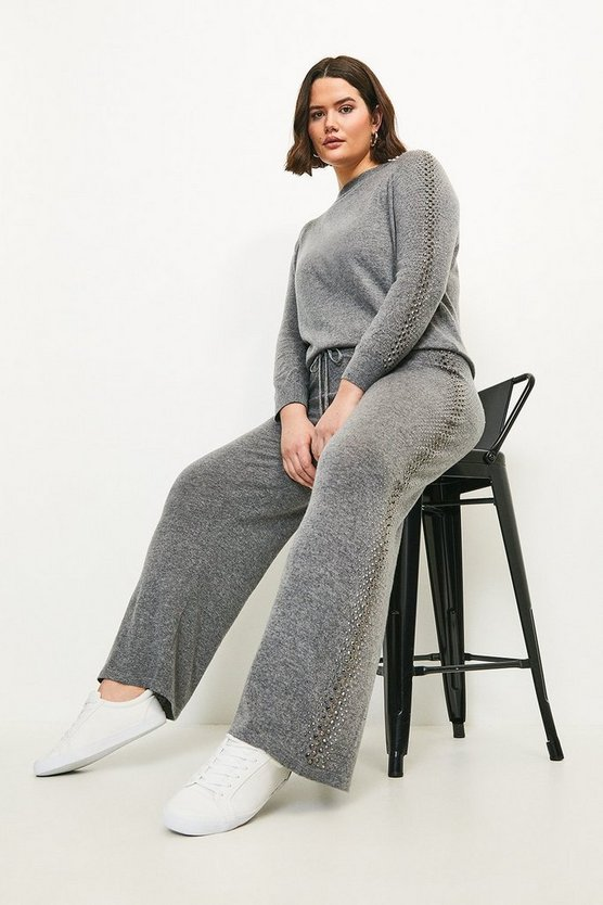 Grey Curve Embellished Soft Touch Knitted Jogger
