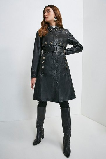 Black Leather Eyelet Trim Trench Coat