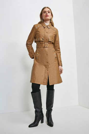 Tan Leather Eyelet Trim Trench Coat