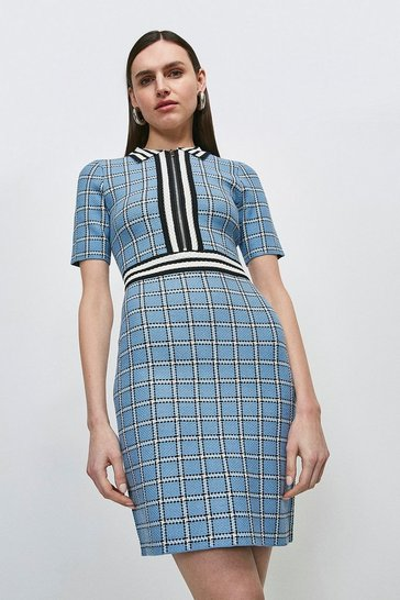 Multi Textured Check Knit Dress