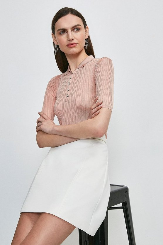 Blush Slinky Rib Knitted Polo