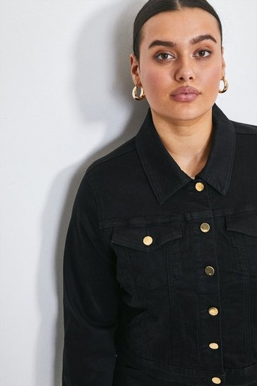 Black Curve Western Denim Jacket