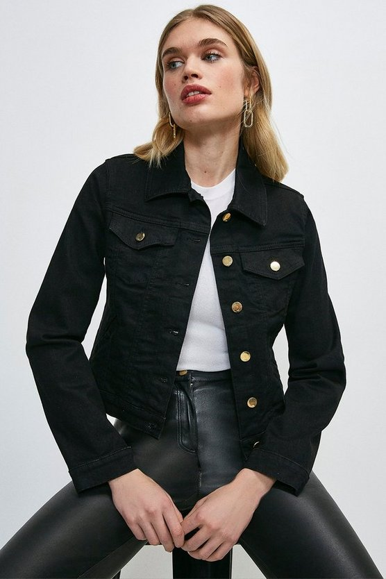 Black Organic Western Denim Jacket