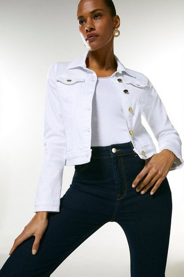 White Organic Western Denim Jacket