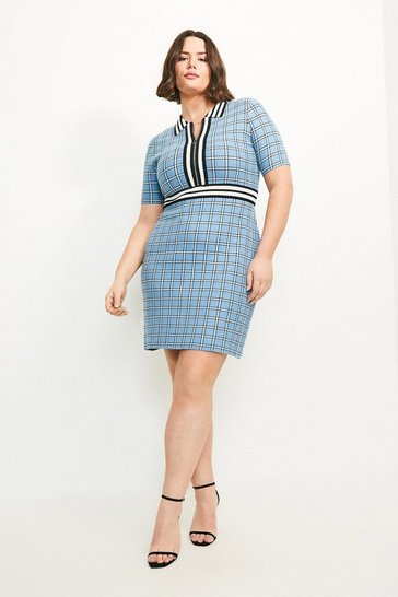 Multi Curve Textured Check Knit Dress