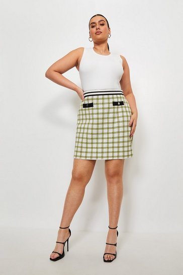 Multi Curve Textured Check Knit Skirt