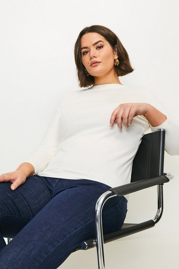 White Curve Organic Cotton Slash Neck Top