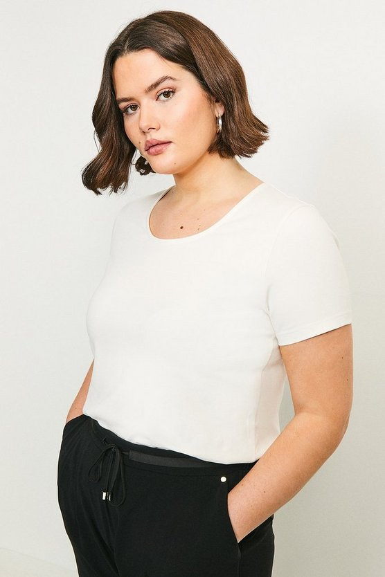 White Curve Organic Cotton Jersey Fitted Crew Tee