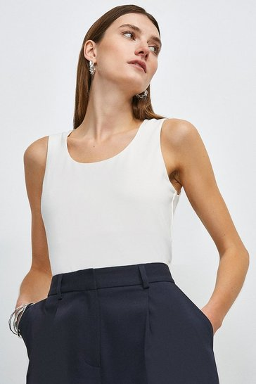 White Organic Cotton Jersey Scoop Vest