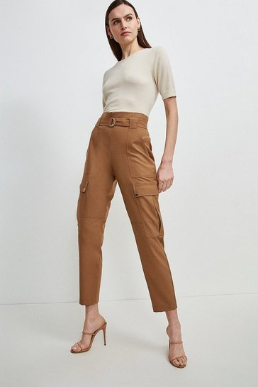 Camel Polished Stretch Wool Blend Cargo Trousers