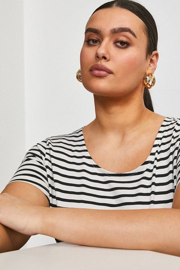 Blackwhite Curve Organic Cotton Jersey Fitted Stripe Crew