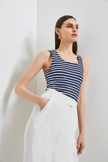 Navy Organic Cotton Jersey Stripe Scoop Neck Vest