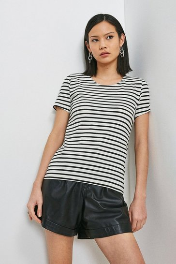 Blackwhite Organic Cotton Fitted Stripe Crew Neck Tee