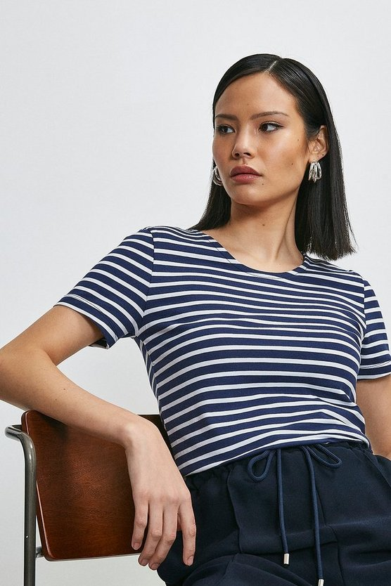 Navy Organic Cotton Fitted Stripe Crew Neck Tee