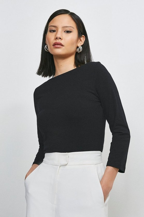 Black Organic Cotton Slash Neck Top