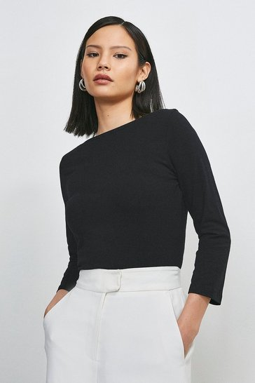 Black Organic Cotton Jersey Slash Neck Top