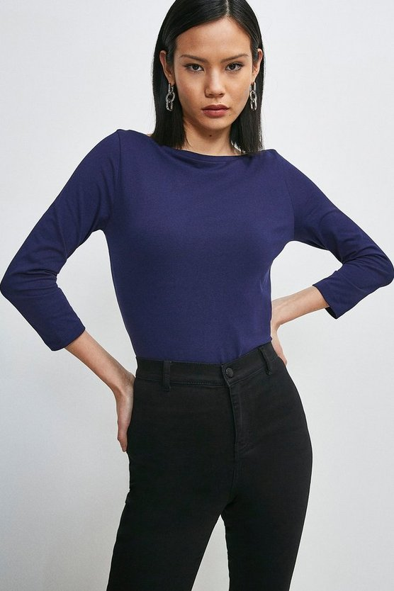 Navy Organic Cotton Jersey Slash Neck Top
