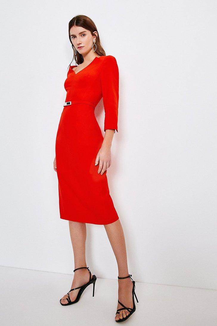 Karen Millen Forever Bar Belt Dress (Red)