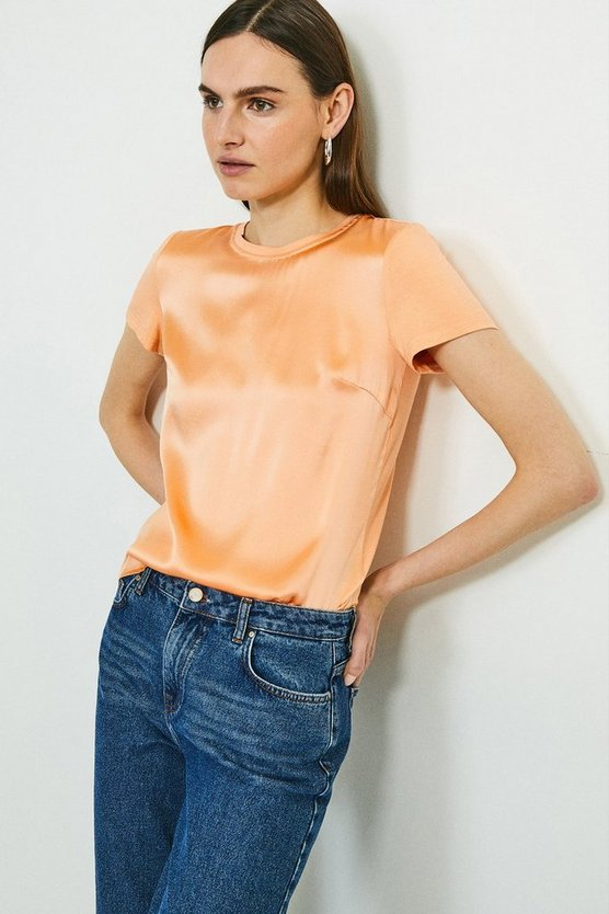 Apricot 100% Silk Front Jersey Back T-Shirt