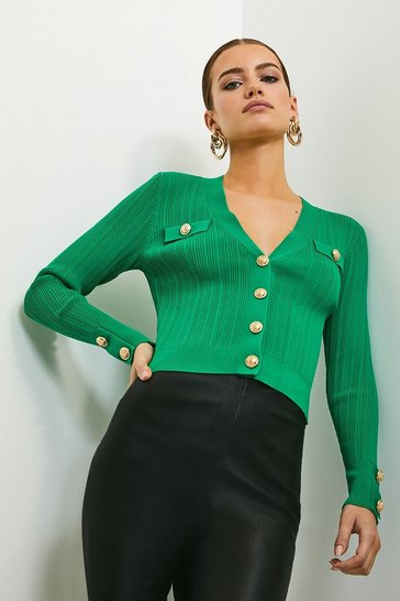 Green Military Button V Neck Cardigan