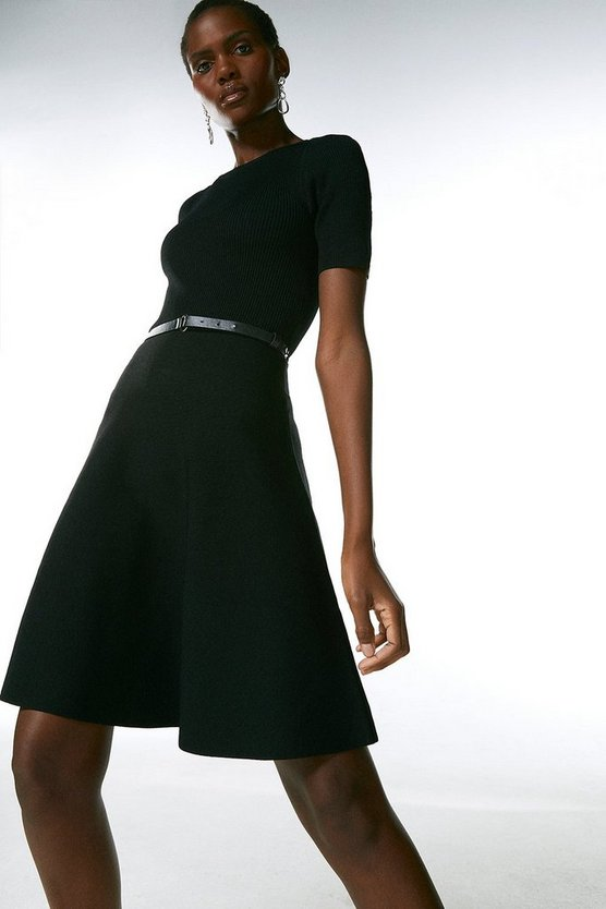 Black Short Sleeve Crew Neck Skater Dress