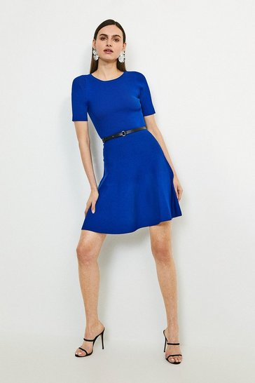 Cobalt Short Sleeve Crew Neck Skater Dress