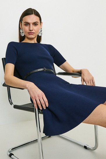 Navy Short Sleeve Crew Neck Skater Dress