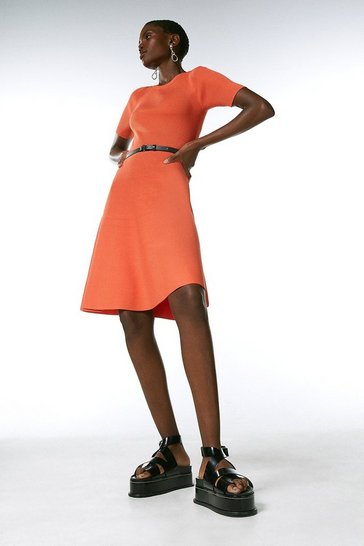 Orange Short Sleeve Crew Neck Skater Dress