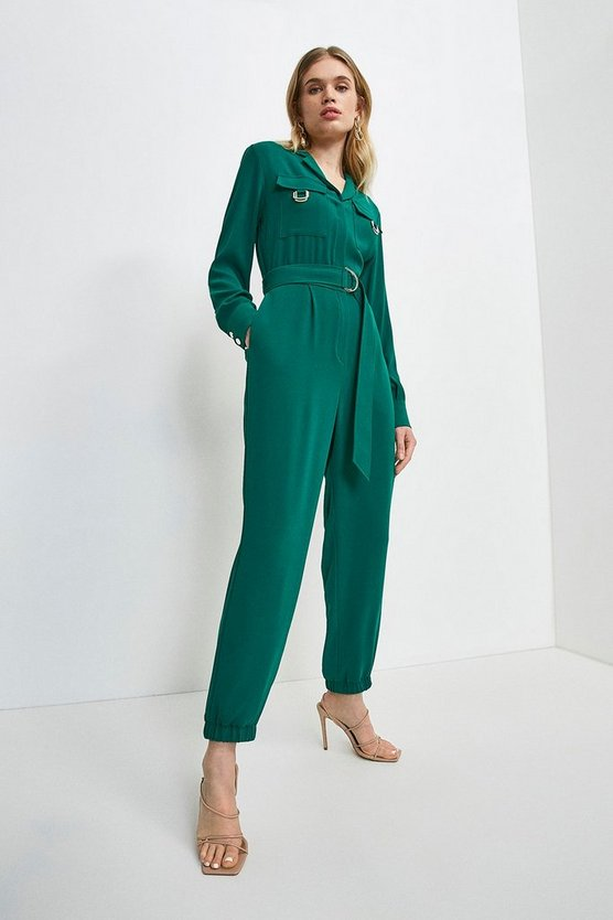 Green Luxe Gold Trim Detail Jumpsuit