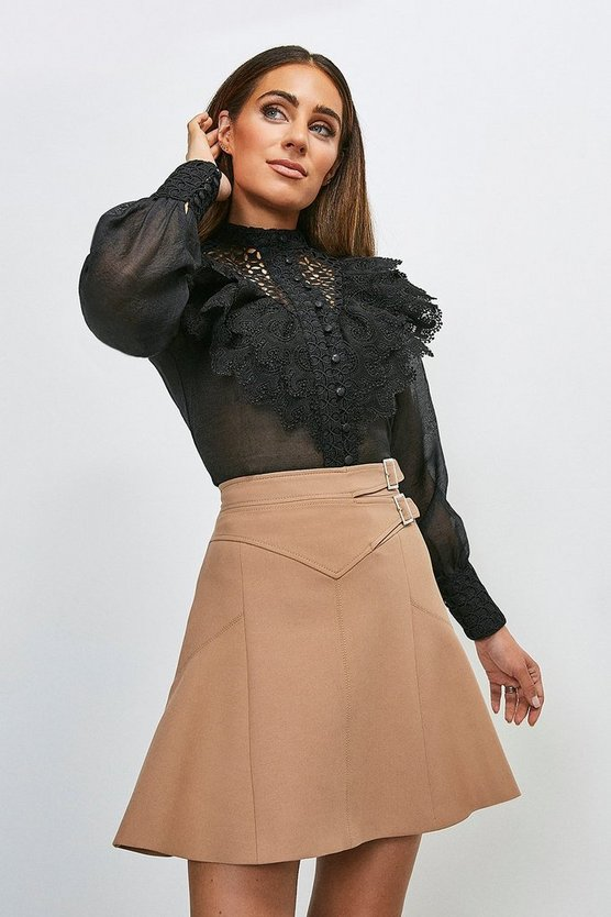 Black Broderie And Ruffle Detail Blouse