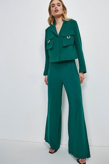 Green Luxe Side Split Wide Leg Trouser