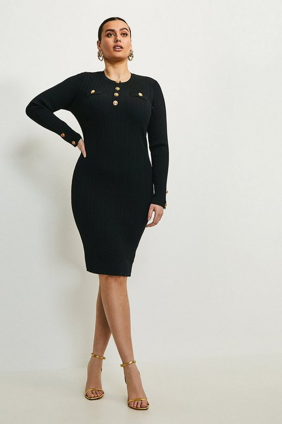 Black Curve Military Button Knit Dress