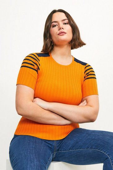 Orange Curve Sporty Striped Knitted Tee