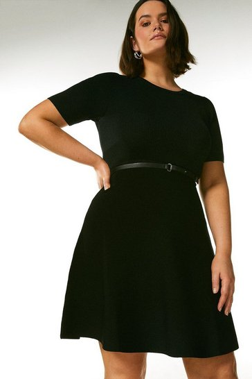 Black Curve Short Sleeve Belted Skater Dress