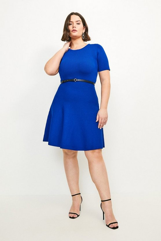 Cobalt Curve Short Sleeve Belted Skater Dress