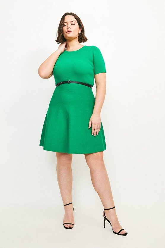 Green Curve Short Sleeve Belted Skater Dress