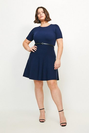 Navy Curve Short Sleeve Belted Skater Dress