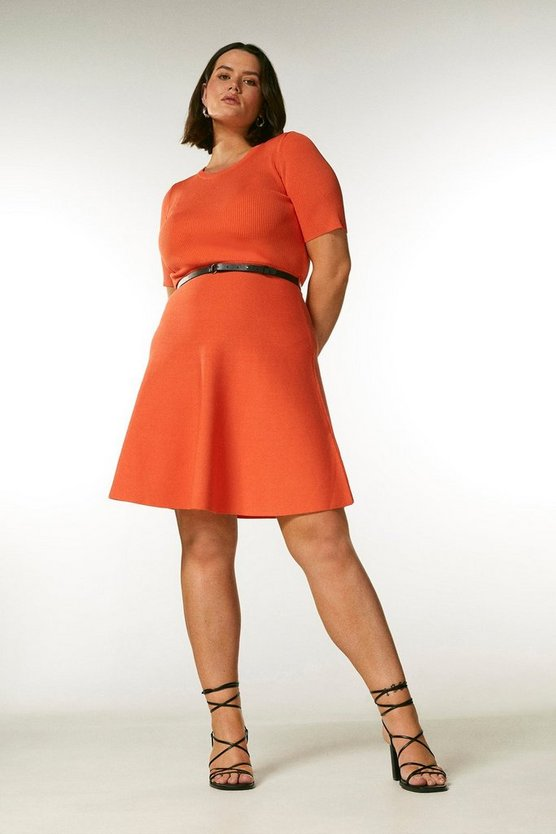 Orange Curve Short Sleeve Belted Skater Dress