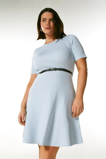 Pale blue Curve Short Sleeve Belted Skater Dress