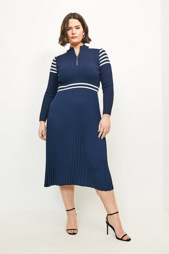 Navy Curve Sporty Stripe Pleat Skirt Knit Dress