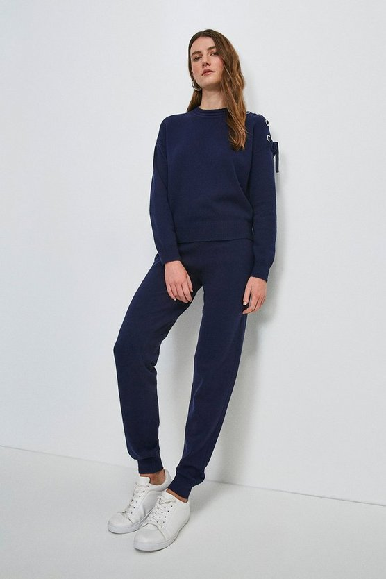 Navy Eyelet Lace Up Knitted Joggers